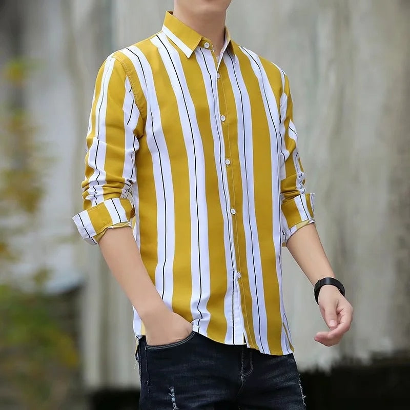 Men's Casual, Long Sleeve, Striped Shirt