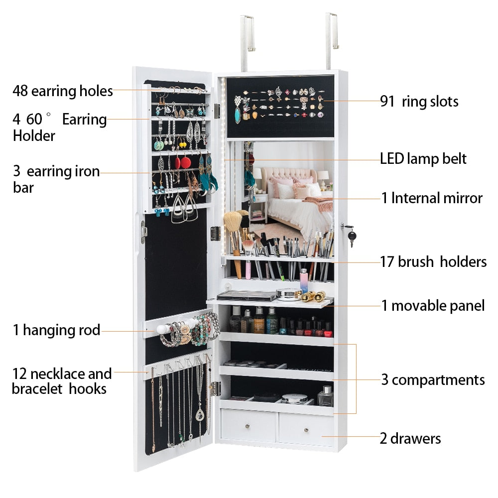 Mirrored Jewelry and Make-up Storage Cabinet