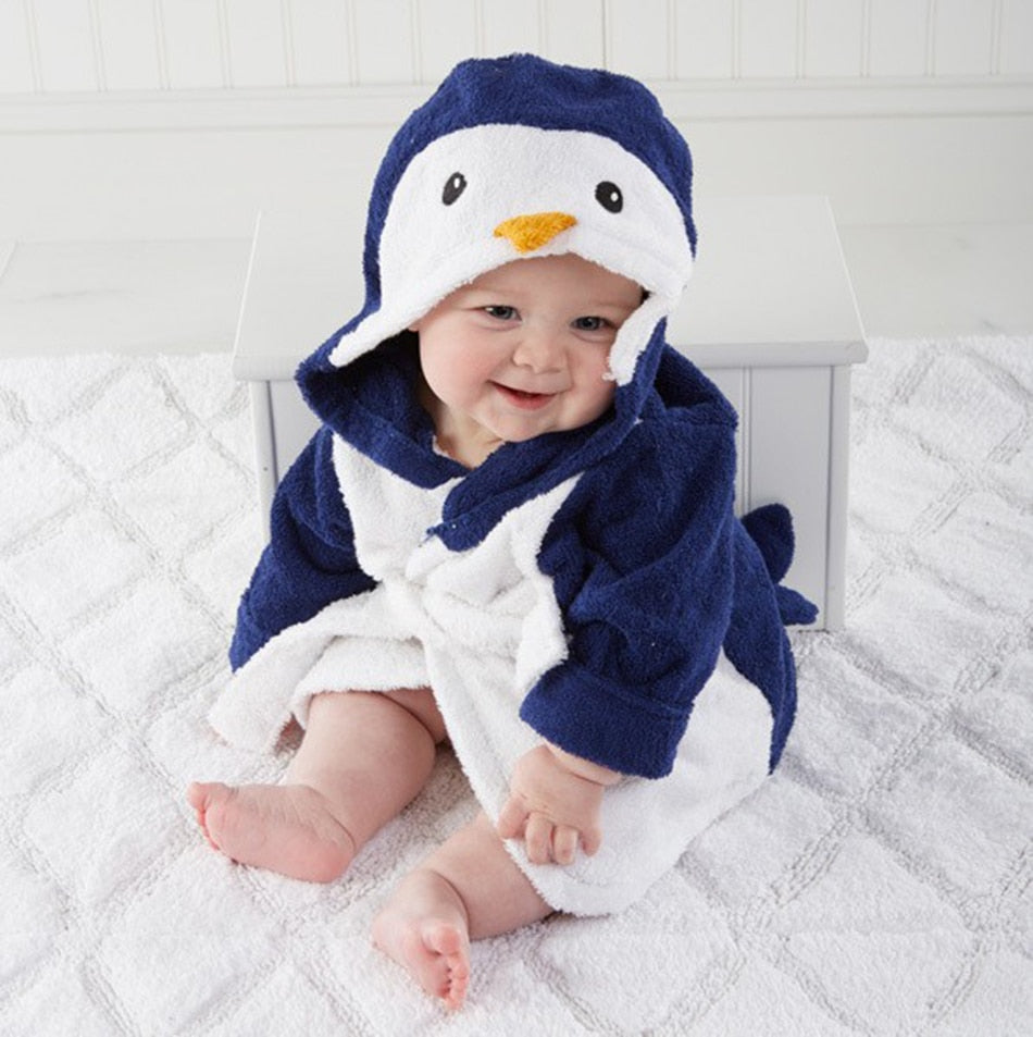 Hooded Cartoon Animal Baby Bathrobe