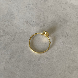 Gold Crystal Solitaire Ring