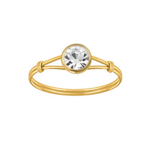 Load image into Gallery viewer, Gold Crystal Solitaire Ring