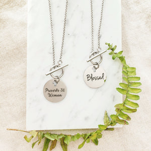 Proverbs 31 Woman Toggle Necklace