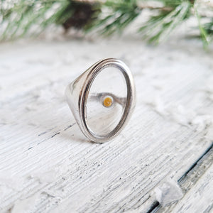 Large Sterling Silver Mustard Seed Adjustable Ring