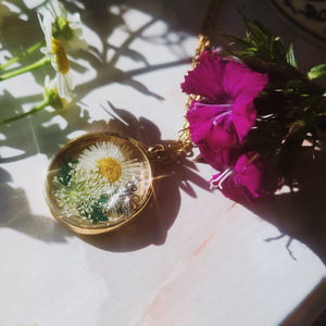 Deborah, Honey Bee Dried Flower Circle Necklace