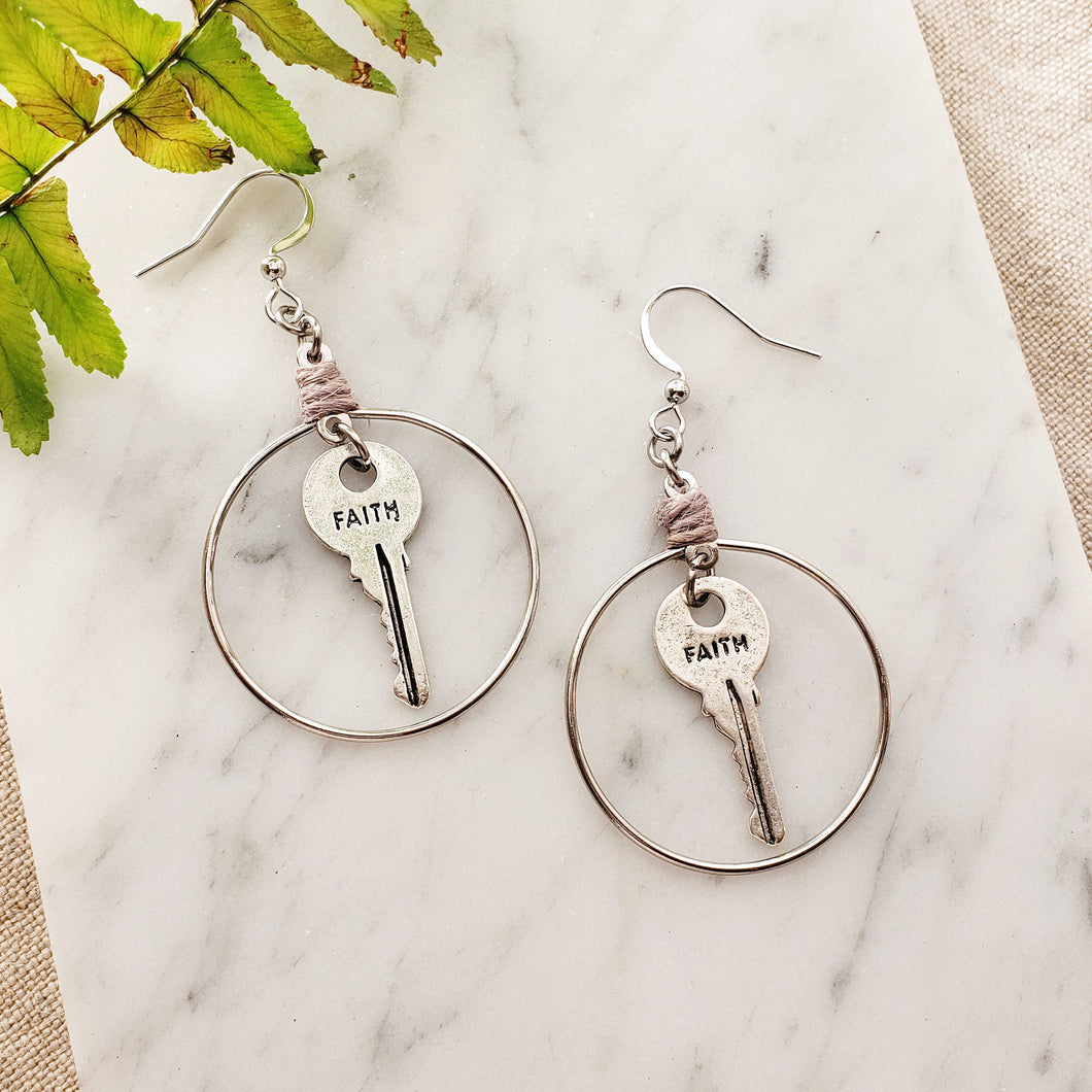 Faith Key Round Earrings
