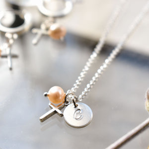 Custom Pearl Initial Necklace