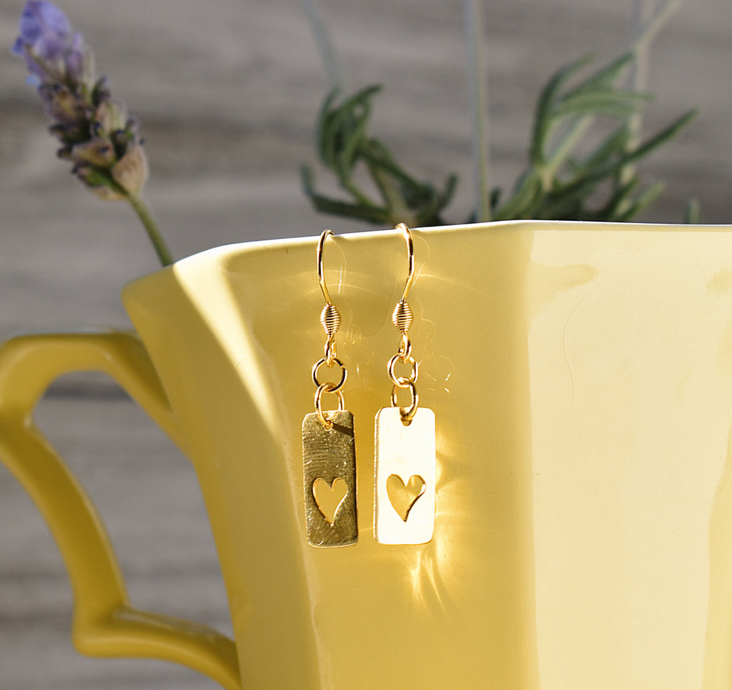 Open Heart Gold Earrings