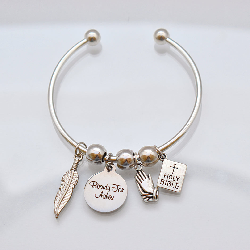 Beauty For Ashes Bangle Charm Bracelet