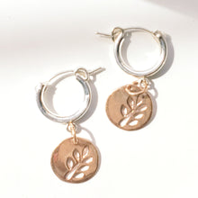 Load image into Gallery viewer, Rose Gold And Sterling Silver Huggie Hoop Earrings