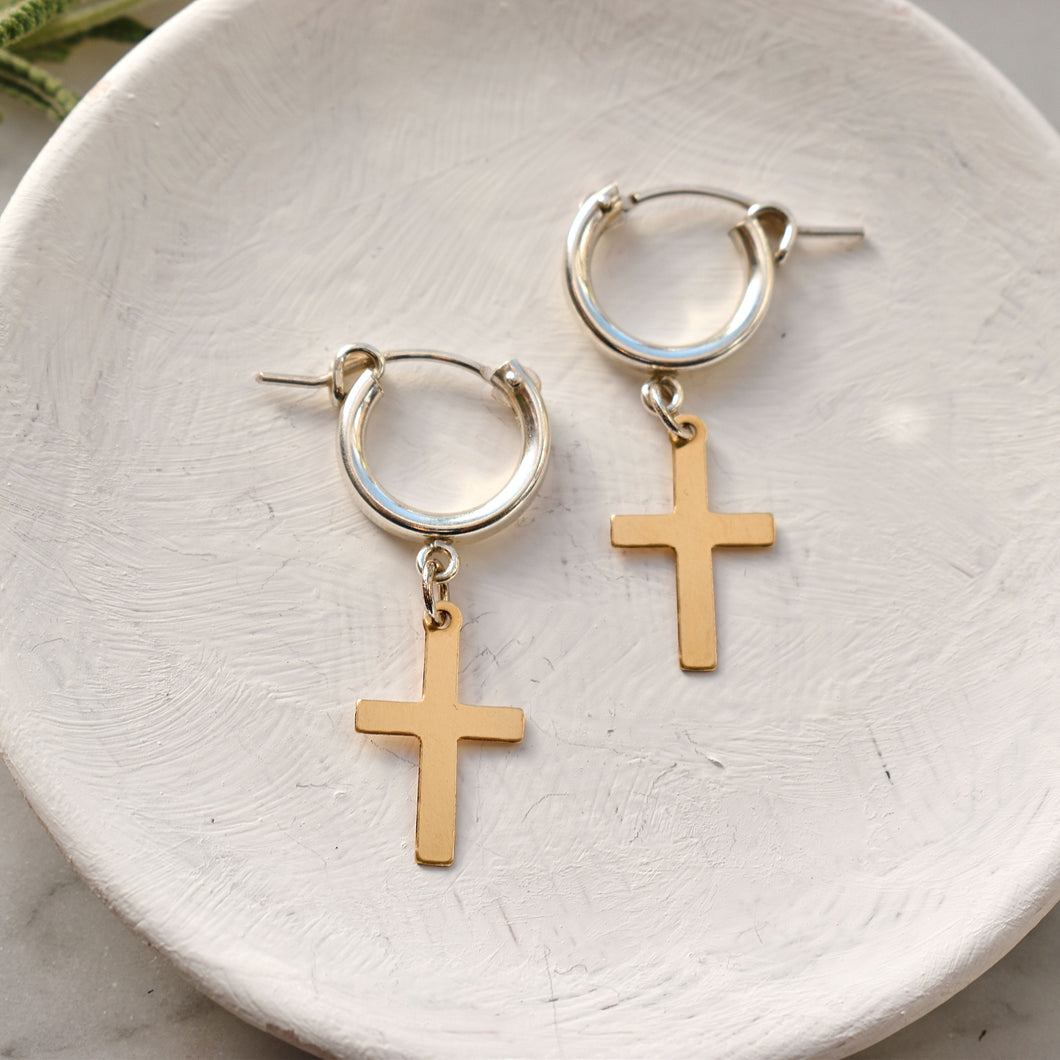 Savior Mixed Metal Huggie Hoop Earrings PreOrder