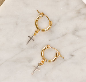 Tiny Cross Mixed Metal Huggie Hoops PreOrder