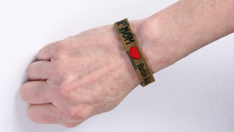 "Hero Bracelet - 1/2"" wide w/ buckle, embroidered text and RED HEART"
