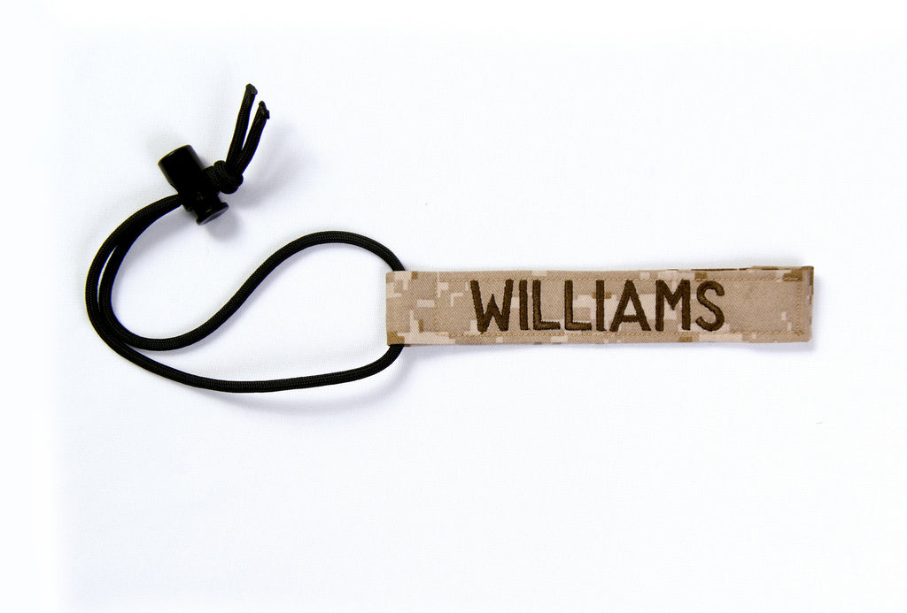 "Embroidered Gear Tag - 1"" x 6"" with 550 cord"