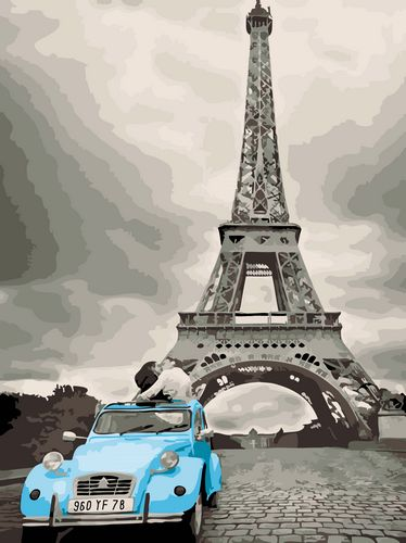 Landscape Eiffel Tower&Car Paint By Numbers Kits UK With Frame GX064