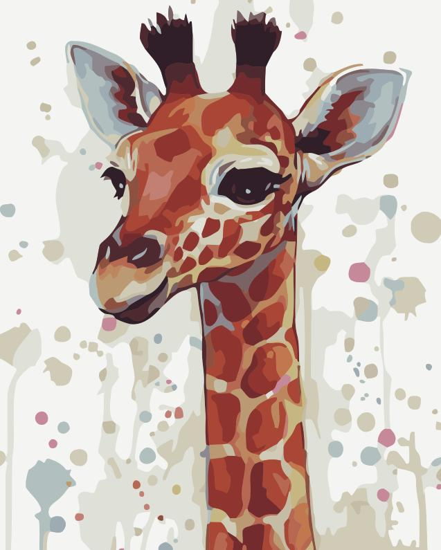 Animal Giraffe Paint By Numbers Kits UK For Beginners HQD1235