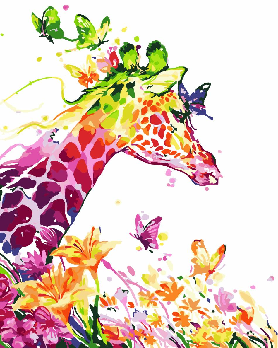 Animal Giraffe Paint By Numbers Kits UK For Adult HQD1237