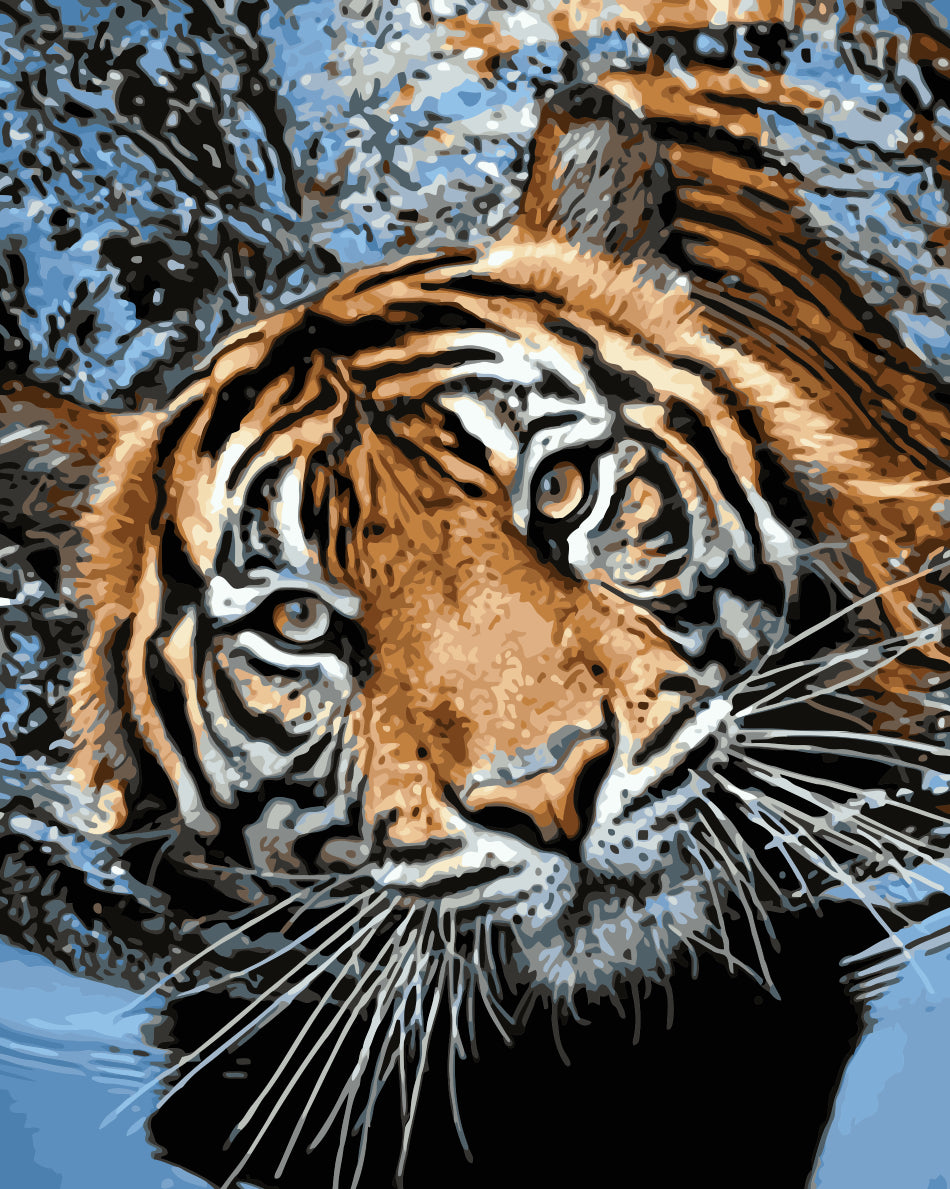 Animal Tiger Paint By Numbers Kits UK For Adult HQD1240