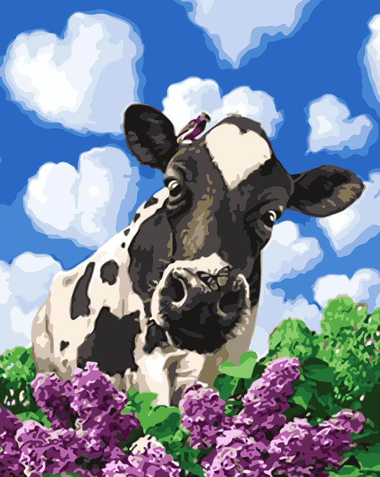 Animal Cow Paint By Numbers Kits UK For Adult HQD1248