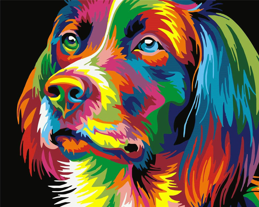 Animal Dog Paint By Numbers Kits UK For Kids HQD1249