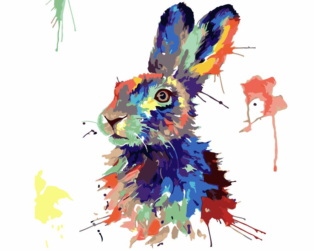 Animal Rabit Paint By Numbers Kits UK For Beginners HQD1250