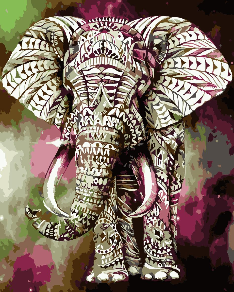 Animal Elephant Paint By Numbers Kits UK For Adult HQD1252