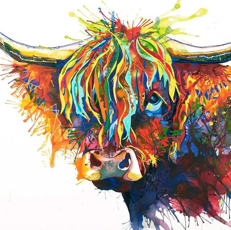 Animal Cow Paint By Numbers Kits UK For Adult HQD1259
