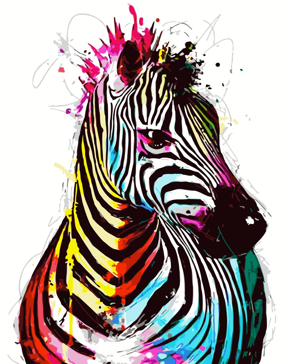 Animal Zebra Paint By Numbers Kits UK For Adult HQD1282