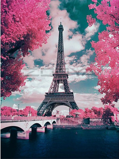 Landscape Eiffel Tower Paint By Numbers Kits UK With Frame PH9237
