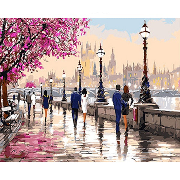 Landscape London Street Paint By Numbers Kits UK With Frame PH9321