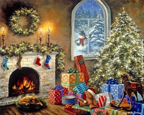 Landscape Christmas Paint By Numbers Kits UK With Frame PH9501