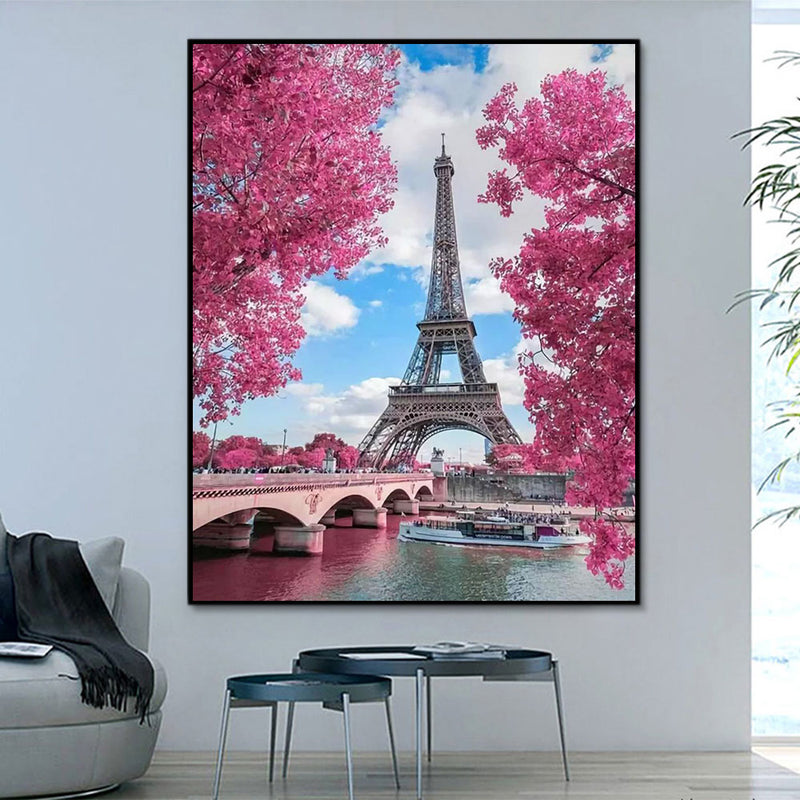 Landscape Eiffel Tower Paint By Numbers Kits UK With Frame RA3088