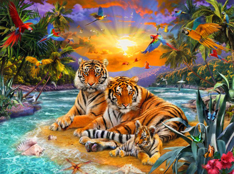 Animal Tiger Paint By Numbers Kits UK For Adult RA3241