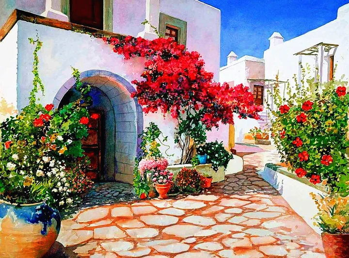 Landscape Greece Santorini Paint By Numbers Kits UK RSB8399