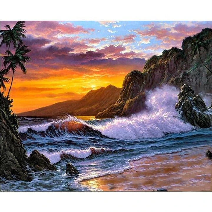 Landscape Wave Paint By Numbers Kits UK With Frame WH2016