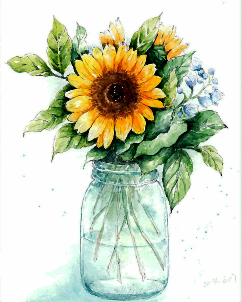 Flower Paint By Numbers Kits UK For Adult WM-105