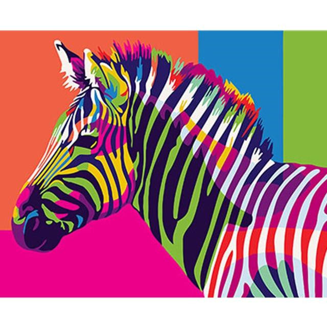 Animal Zebra Paint By Numbers Kits UK For Beginners HQD1366