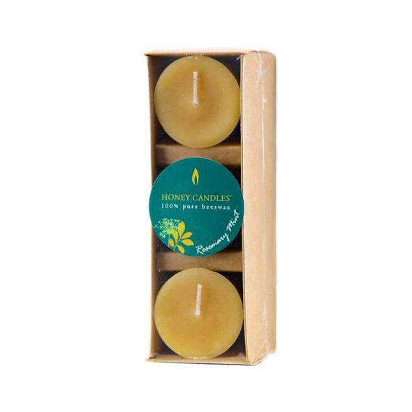 Pack of 3 Essential Votive Rosemary Mint Beeswax Candles