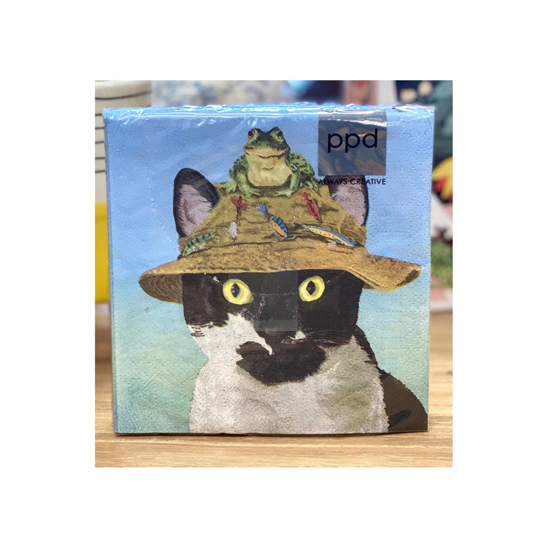 Napkins- Benny The Cat With A Fishing Cat