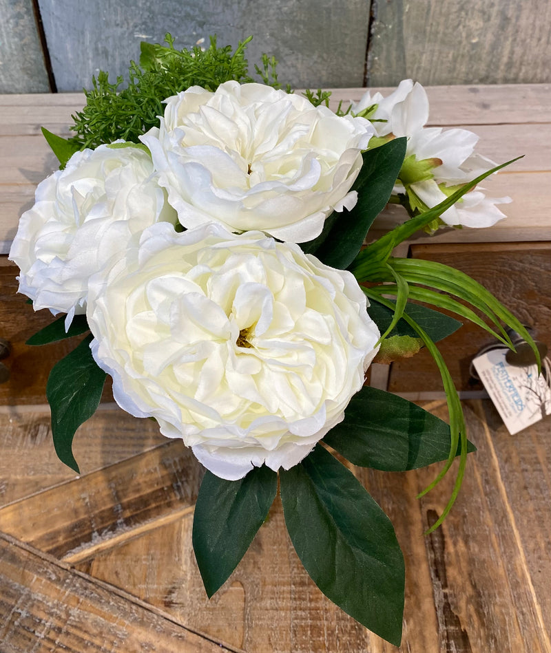 Bouquet of White Roses with Leaves