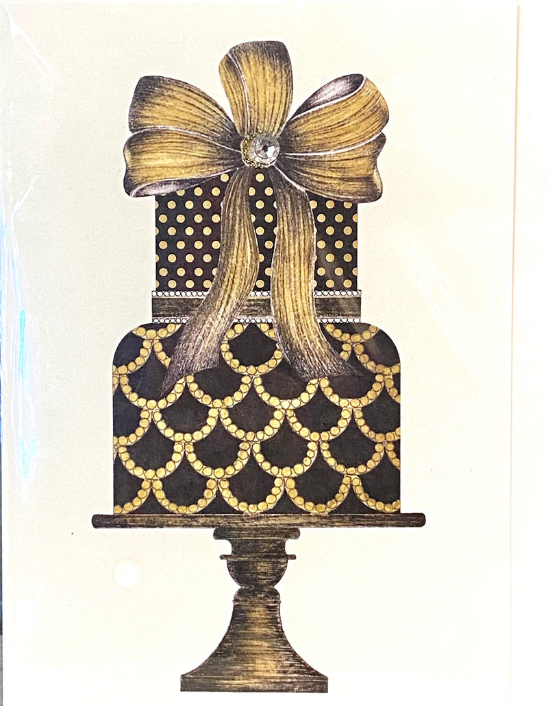S.E. Hagarman Wedding Card- Black & Gold Wedding Cake