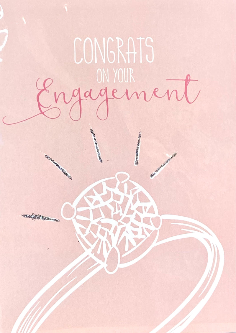 Congrats on Your Engagement Card- Engagement Ring With Glitter Accent