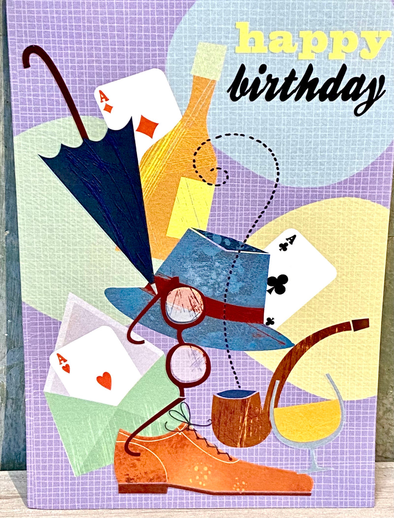 Birthday Card- Playing Cards, Glasses, Umbrella
