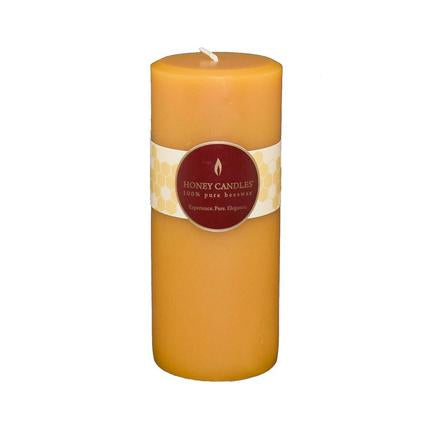 "Honey Candle 7"" Round Natural Pillar"