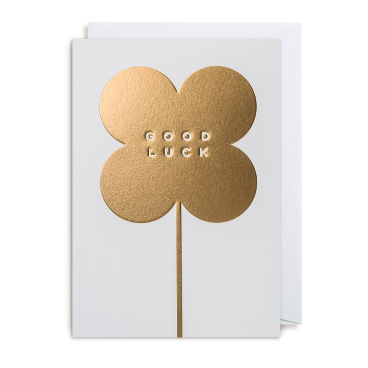 Good Luck Card- Gold Four Leaf Clover