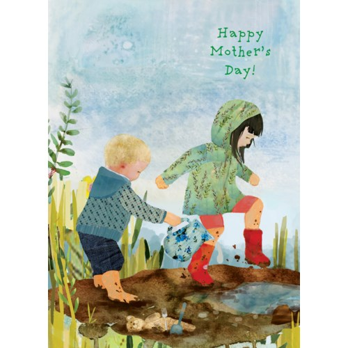 Mother's Day Card- Kids Puddle Jumping