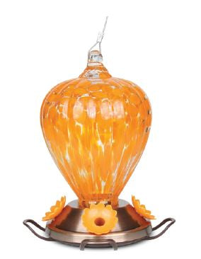 PineBush Art Glass Oriole Feeder - Copper Plated Base