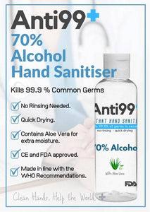 60ml Anti99+ Hand Sanitiser with Aloe Vera - Box of 200