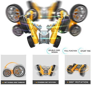 RC AWD Remote Control Stunt Car Toy for Kids, LED Lights, Double Sided Rotating 360° Flips Crawler Vehicle Toy
