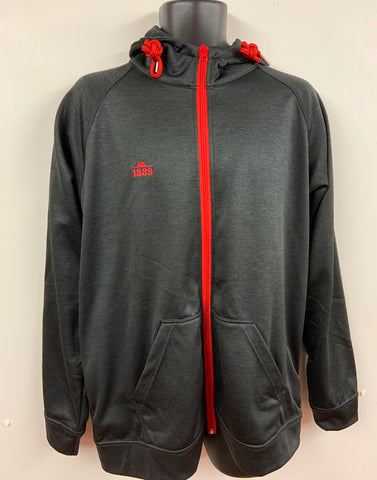 1889 BLACK LEISURE FULL ZIP TRACK TOP