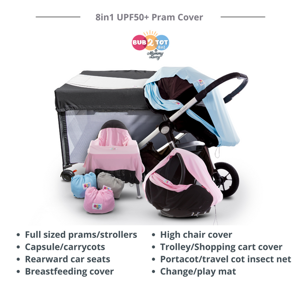 multifunctional 8 in 1 universal UPF 50+ pram cover and sun shade for strollers, highchairs, trolleys, carseats, capsules, carrycots, breastfeeding or nursing, and portacots and playmats
